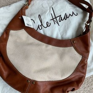 Cole Haan Small Hobo Paige straw II NWT